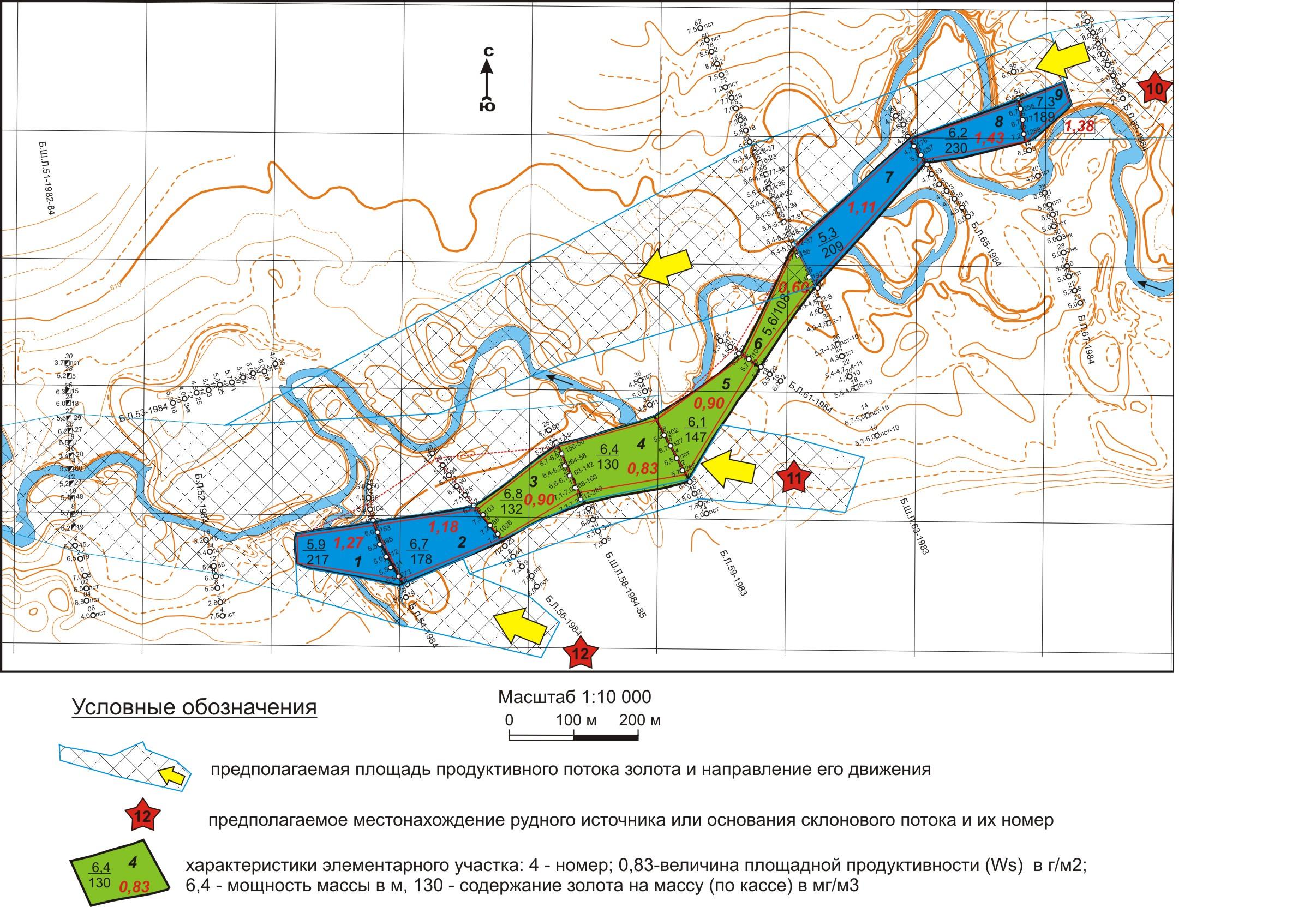 Рис. 2. План отработки участка россыпи реки Кутыкан.